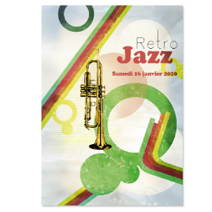 retro jazz print illustration